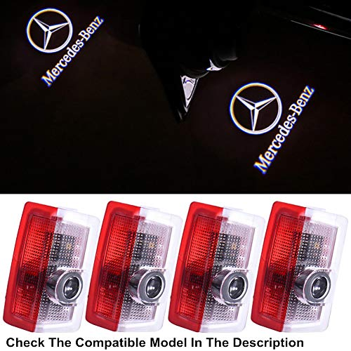 Compatible Mercedes Car Door LED Logo Lights Projector Ghost Shadow Puddle Light for Mercedes Benz E-W212 A-W176 C-W205 AMG-C63 M-W166 4MATIC Series Accessories (4 Pack)