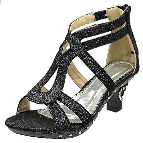 Kids Dress Sandals Glitter Cutout Heart High Heel Pageant Shoes Black 1