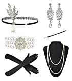 Eternity J. 1920s Accessories Headband Earrings Necklace Gloves Bracelet Cigarette Holder Flapper Costume Accessories Set for Women (Style-2)