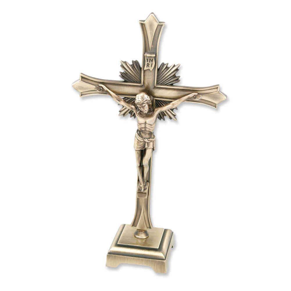 Stehkreuz Standkreuz Kruzifix Metall antik Gold Christuskorpus Strahlenkranz /& INRI 20 cm Altarkreuz Zuhause Pflegeheim Sterbekreuz f/ür Hospitz