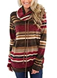 Dellytop Womens Cowl Neck Striped Sweatshirts Long Sleeve Heather Pullovers Pockets