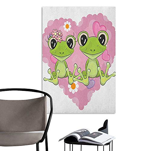 Williasm Retro Poster Decorative Painting Love Two Cartoon Frogs on a Background of Heart in Love Valentines Flowers Dried Rose Lime Green Children's Room Wall W8 x H10