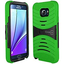 Galaxy Note 5 Case, CoverON® [Titan Armor Series] Dual Layer Silicone + Tough Cover Stand Phone Case For Samsung Galaxy Note 5 - Neon Green & Black
