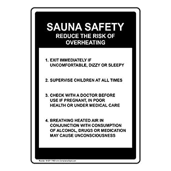 Sauna Safety Reduce Risk Of Overheating Activity Sign Aluminum METAL Sign