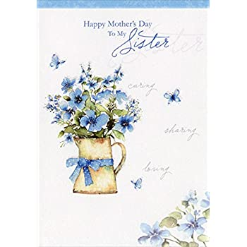 Amazon hallmark mahogany mothers day greeting card for sister blue flowers in pitcher sister designer greetings mothers day card m4hsunfo