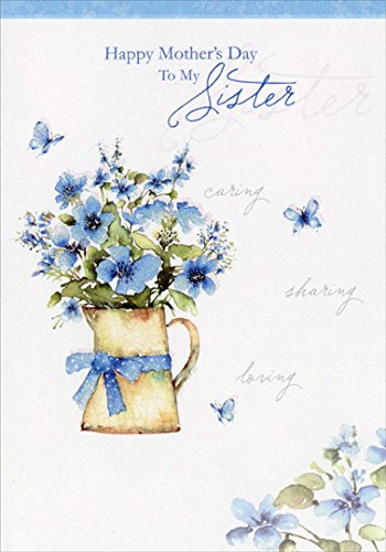 Amazon blue flowers in pitcher sister designer greetings blue flowers in pitcher sister designer greetings mothers day card m4hsunfo