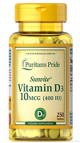 Puritan's Pride Vitamin D3 10 mcg (400 IU)-250 Tablets