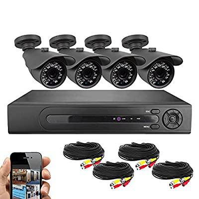 Best Vision Systems BV 8 Channel HD 1080N DVR Security Surveillance System with 1TB Hard Drive and 4x 720P IR Outdoor Weatherproof Bullet Cameras from BV USA