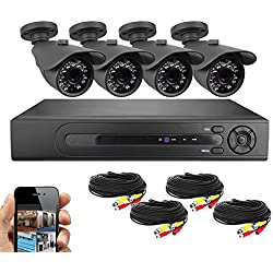 Best Vision Systems 8 Channel HD 1080N DVR Security Surveillance System with 1TB Hard Drive and 4x 720P IR 65ft Night Vision Indoor/Outdoor Weatherproof IP66 Bullet Cameras
