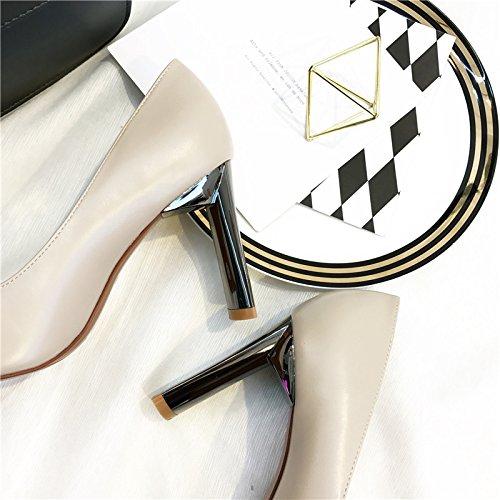 alta retrò donna ad tacco Court porta beige libero scarpe scarpe selvaggia punta a Tempo Elegante Comfort Ajunr Party 36 scarpe singola 9cm luce 37 Xpw6Z8ATxq