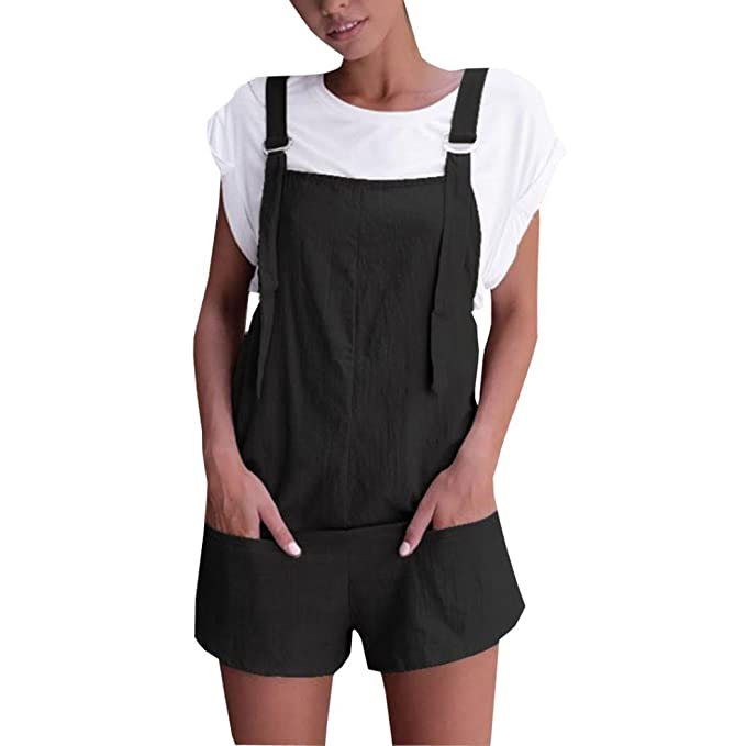 Amazon.com  Women Overalls and Jumpers Elastic Waist Dungarees Linen Cotton  Pockets Rompers Jumpsuit Denim Shorts Pants  Clothing 743deaef2b29