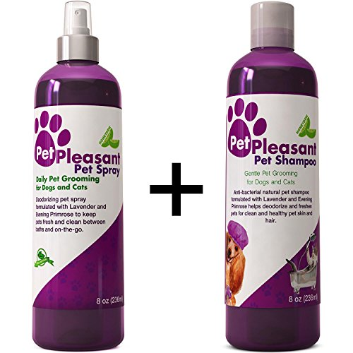 Natural Pet Spray + Pet Shampoo Bundle for Dogs and Cats - 2-pack Gift Set for Pet Care Aromatherapy with Lavender and Evening Primrose - Cleansing, Deodorizing and Nourishing - USA Made By Honeydew