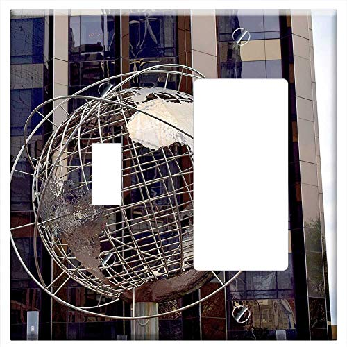 Skyscraper Sculptures - 1-Toggle 1-Rocker/GFCI Combination Wall Plate Cover - Globe Sculpture Skyscraper Manhattan Nyc New