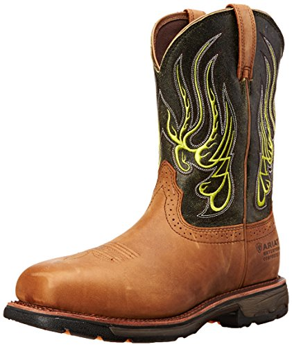 (Ariat Men's Workhog Mesteno Wide Square H2O Composite Toe Work Boot, Rust/Moss Green, 11 M US)