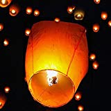 50 PCS Chinese Paper Lanterns, Wishing Lanterns, Eco Friendly Sky Lanterns, with Wax Block for Lighting, Ideal for Wedding, Birthday, Christmas, Parties, (White)