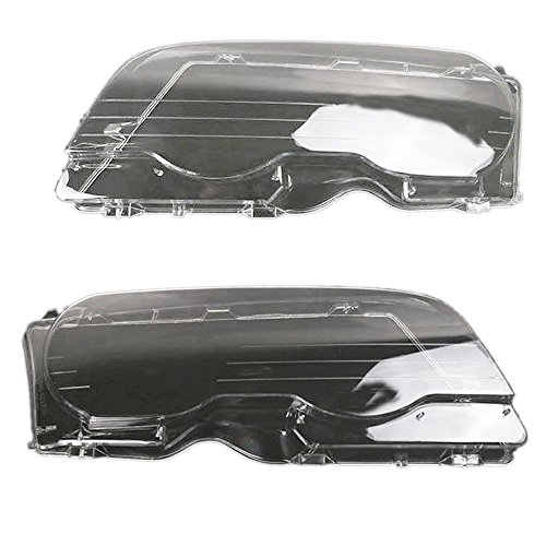 (Arotom Fit for 1998-2002 BMW 3 Series E46 2 Door/M3 2001-2006 Headlight Lens Plastic Covers Left + Right PAIR)