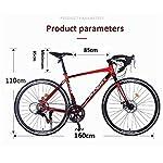 JXH-Adulti-Road-Bike-Uomini-Bicicletta-da-Corsa-con-Doppio-Freno-a-Disco-ad-Alta-Acciaio-al-Carbonio-Telaio-da-Strada-Bicicletta-Utility-Bike-Nero-21-velocitBianca