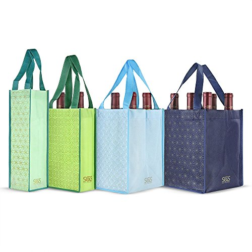 - Reusable Wine Bottle Tote Bags - Set of 4 - Istanbul