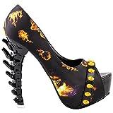 SHOW STORY New Bone High Skull Head Platform Bone Heels Shoes,LF80654YL38,7US,Yellow