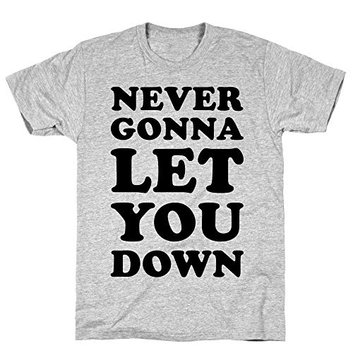 LookHUMAN Never Gonna Let You Down XL Athletic Gray Men's Cotton -