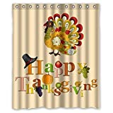 Colorful Art Turkey Happy Thanksgiving day Waterproof Bathroom Fabric Shower Curtain,Bathroom decor 60' x 72'