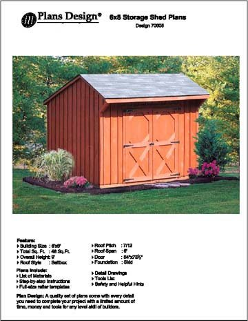 6' X 8' Saltbox Storage Shed/playhouse Plans -Design #70608 Plans Design