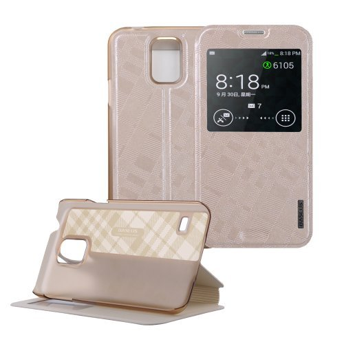 Moon Monkey Ultra-thin Slim Unique Texture Style Folio Stand Feature Cover Case with Intelligent Window for Samsung Galaxy S5 (Champagne)