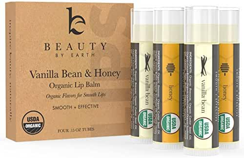 Lip Balm, USDA Organic, Vanilla Bean & Honey (4 pack), Pure and Natural Beeswax, Lip Butter with Aloe Vera & Vitamin E, Condition and Repair Dry Chapped Lips, Made in the USA