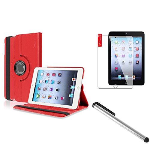 Insten Red 360 Swivel Leather Case Cover+Silver Stylus+Protector Compatible With iPad Mini 3 / Apple iPad iPad mini with Retina display (iPad Mini 2) / Mini