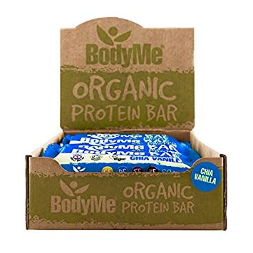 BodyMe Organic Vegan Protein Bar | Raw Chia Vanilla | Box of 12 x 60g | With 3 Plant Proteins
