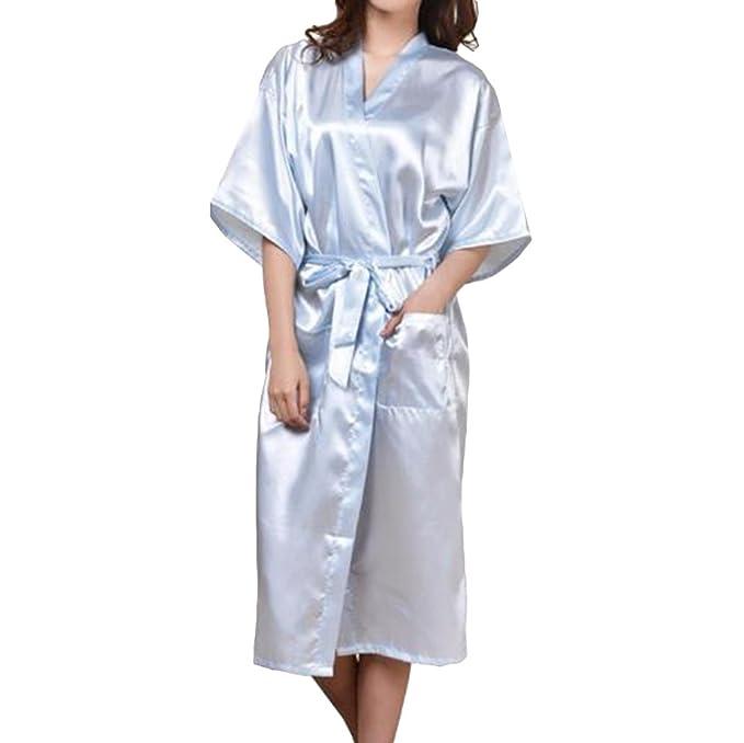 Hibote Mujeres Faux Seda Satén Largo Kimono Bata Sexy Albornoz Ropa de Dormir Sexy Albornoz: Amazon.es: Ropa y accesorios