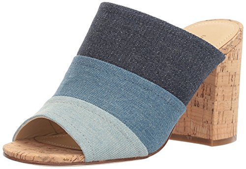 Marc Fisher Women's Prenna Heeled Sandal, Dark Blue Denim, 10 Medium (Denim Mules)