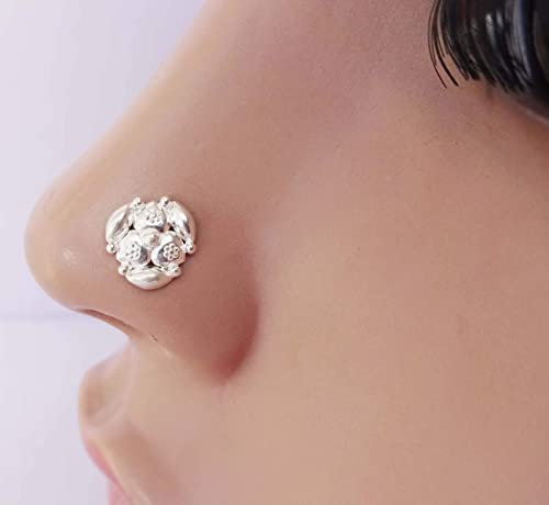 925 Sterling Silver Nose Studs Ethnic Jewelry Screw Nose Piercing Stud Nose  .