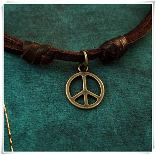A little little love Peace Sign Necklace,Very Small Peace Sign Charm Necklace,Hippie Gift Leather Necklace, Brown Cord Necklace, Men's Jewelry, Boyfriend ()