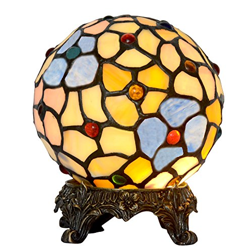 Bieye L10011 6-inches Flower Ball Tiffany Style Stained Glass Table Lamp with 100% Brass Base (Yellow)