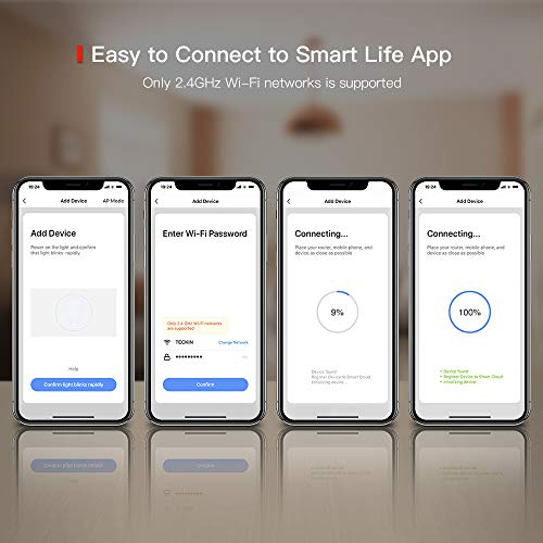 Smart Light Bulb with Soft White Light 2800k-6200k + RGBW, TECKIN A19 WiFi Multicolor LED Bulb Compatible with Phone, Google Home and IFTTT (No Hub Required), 8w (60w Equivalent),4 Pack
