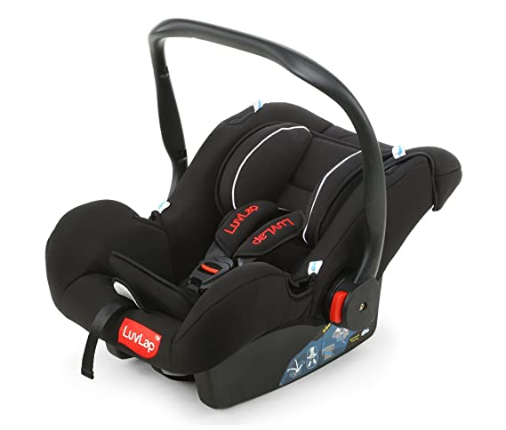 Luvlap Infant Baby Car Seat Cum Carry Cot and Rocker with Canopy (Black)