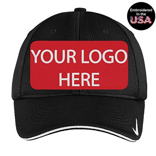 Flex Fit Sandwich Bill Cap (Custom Logo Embroidery On Nike Golf - Dri-Fit Cap. Mesh Swoosh Flex Sandwich Hat (S/M (6 3/4-7 1/4), Black))