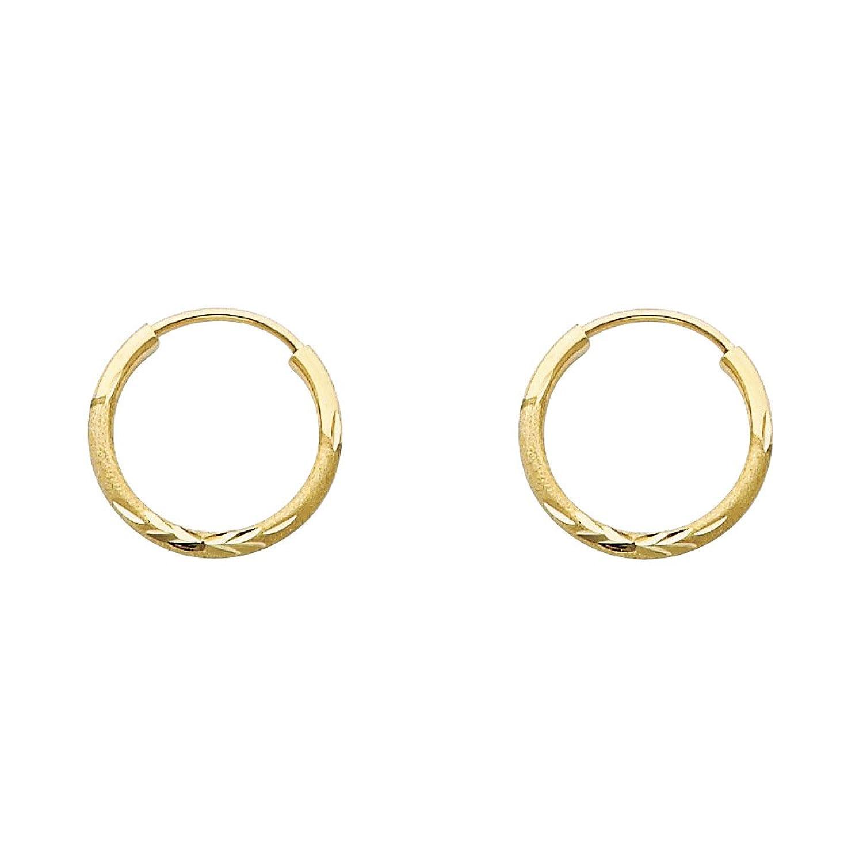 14k Yellow or White Gold 1.5mm Diamond Cut Satin/High Polished Elegant Endless Hoop Earrings