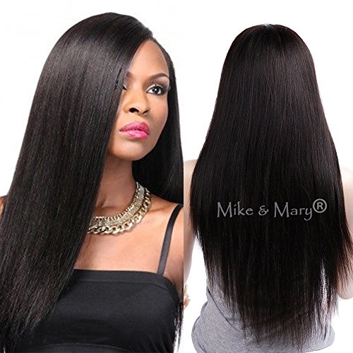 Mike & Mary Top 7A Yaki Straight Brazilian Virgin Human Hair Full Lace Wigs for Black Women Handmade Yaki Human Hair Wigs (10inch, Natural Color) -