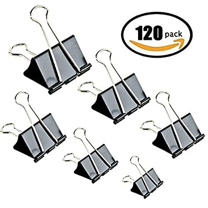Binder Clips Paper Clamp for Paper-120 Pcs Clips Paper Binder Assorted Sizes (Black)