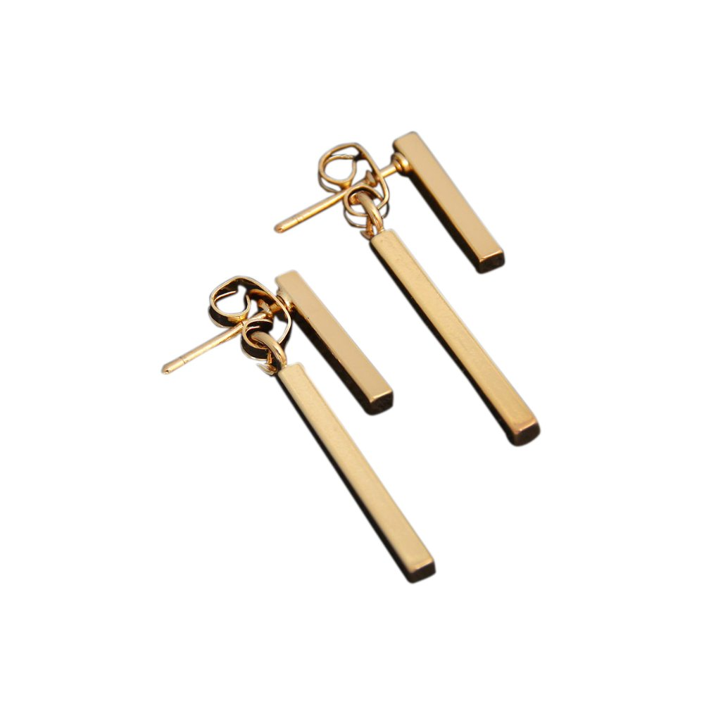 Zen Styles Push Back T Bar Stud Earrings – Geometric Fashion Jewelry in Gold Tone for Women. Fashion Accessories