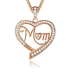 "?Christmas Gifts? Ado Glo ""Mom"" ""Nana"" ""Aunt"" Love Heart Pendant Rose Gold Fashion Jewelry Necklace - Birthday New Years Present for Women - Xmas Last-Minute Deals"