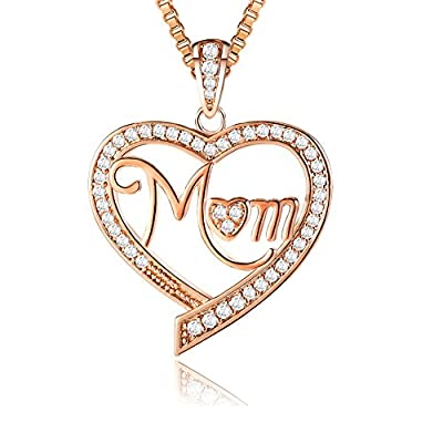 """?Christmas Gifts? Ado Glo """"Mom"""" """"Nana"""" """"Aunt"""" Love Heart Pendant Rose Gold Fashion Jewelry Necklace - Birthday New Years Present for Women - Xmas Last-Minute Deals"""