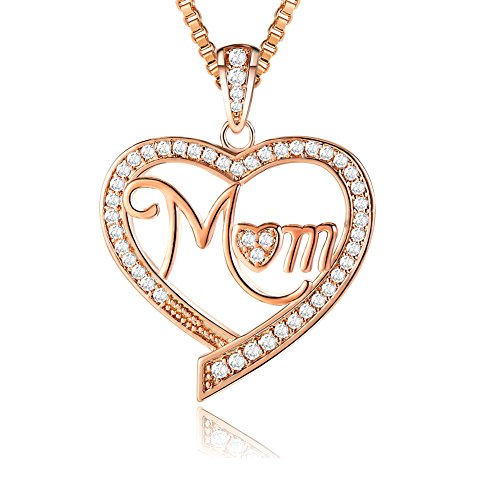 Ado Glo ❤️Christmas Day Gifts❤️ Mom, Nana, Aunt Love Heart Pendant Necklace, Rose Gold Fashion Jewelry for Women, Birthday Wedding Thanksgiving Xmas Present for Her, Auntie, Mother, Grandma
