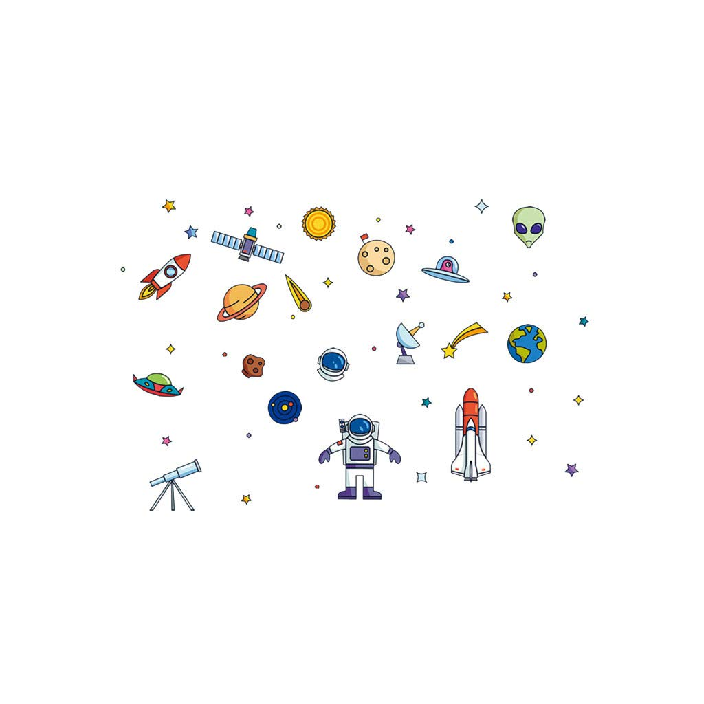 ♚Rendodon♚ Decorative Wall Stickers, Space Ship Cartoon Children's Room Wall Stickers, Creative Home Decor Decal, Mobile Creative Wall Affixed with Decorative Wall Window Decoration (Multicolor)