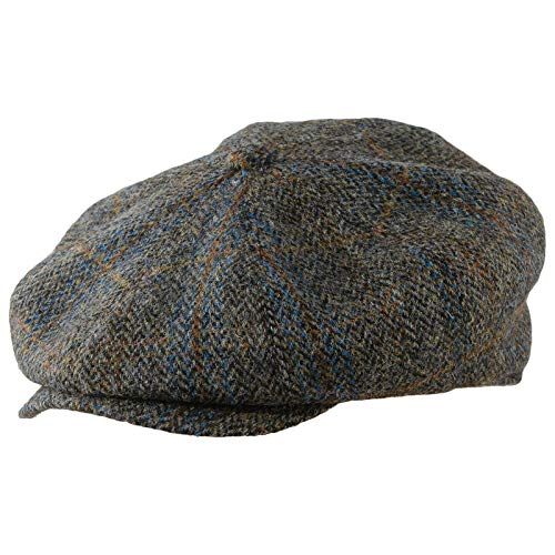 - Sterkowski Vintage Style Peaky Blinders Cap Harris Tweed US 7 1/8 Brown/Blue Check