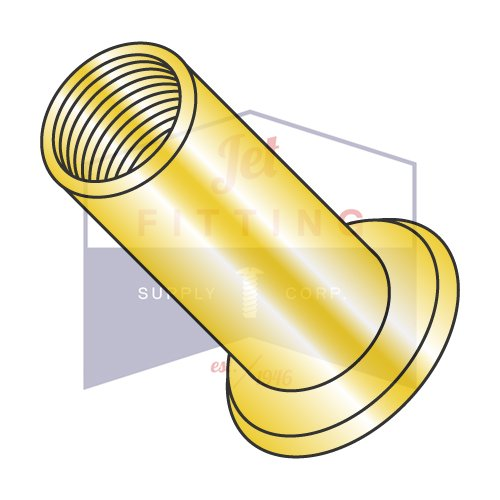 M8-1.25X7.00 Large Flange Blind Threaded Inserts   Flat Head   METRIC   Open-End   Low Carbon Steel   Zinc Yellow Plated   Non-Ribbed (QUANTITY: 1000)
