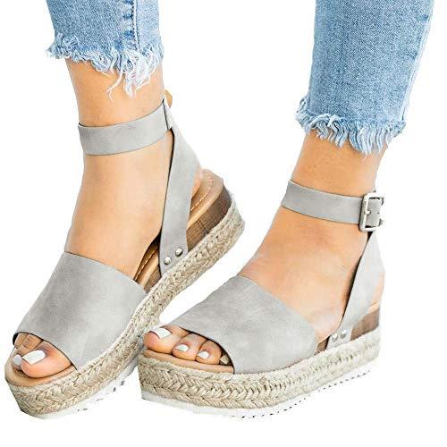 (Athlefit Women's Platform Sandals Espadrille Wedge Ankle Strap Studded Open Toe Sandals Size 6 Grey)