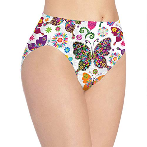- Women's Spring Floral Butterfly Print Underwear,Girls Cute Hipster Briefs Panties White
